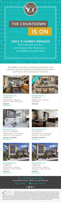 New Homes for Sale in San Francisco, California  Find Your NEW Home in San Francisco | Don't Miss Out, Only 9 Homes Remain  9 Homes Remain  |  New, Modern, Convenient and Totally Open  |  By Lake Merced and the Heart of San Francisco  http://www.summit800.com/