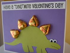 dinosaur card with chocolate hearts as the spikes on its back.
