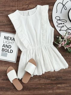 SheIn offers Ruffle Trim Eyelet Embroidered Peplum Shell Top & more to fit your fashionable needs. Trendy Outfits, Summer Outfits, Fashion Outfits, Ootd Fashion, Shell Tops, Blouse And Skirt, Mode Hijab, Summer Tops, Ruffle Trim