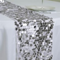 Premium Silver Payette Sequin Table Top Runners Wedding Catering Party Decorations Sold Out ) Banquet Table Decorations, Silver Wedding Decorations, Banquet Tables, Prom Decor, Head Tables, Cool Tables, Round Tablecloth, Sequin Curtains, Table Runners