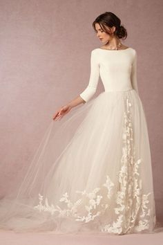 three-quarter length tulip sleeves with v-back and embroidered tulle skirt -- grace wedding gown from bhldn