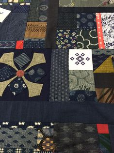 Japanese Embroidery Kimono photo - Trish made this truly wonderful and huge quilt for her bed and there are so many memories and samples of her work from sashiko, patchwork, appliqué and even kogin embroidery. Trish kept the quiltin… Japanese Quilt Patterns, Japanese Textiles, Quilt Block Patterns, Japanese Fabric, Quilt Blocks, Sashiko Embroidery, Japanese Embroidery, Embroidery Patterns Free, Embroidery Designs