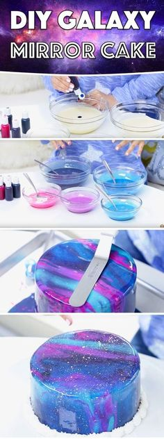 7 Cake Decorating Trends - How to do DIY Galaxy Mirror Cake. 7 Cake, No Bake Cake, Cupcake Cakes, Cake Fondant, Easy Cake Decorating, Cake Decorating Techniques, Decorating Ideas, Cake Decorating Designs, Cake Decorating For Beginners