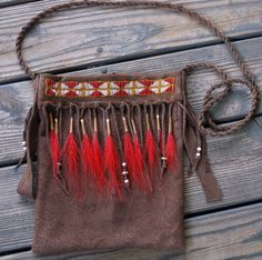 Primitive Native American Style Beaded Suede Elk Hide Possibles Bag for Mountain Man