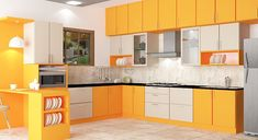 L - shaped modular Kitchen Designs @www.scaleinch.com