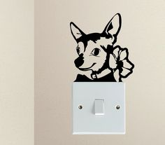 Cute Dog  CHIHUAHUA Doggy Puppy Baby Pet light switch funny vinyl Love Heart decor funny wall art decal stickers Baseboard Kids