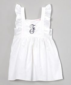 Another great find on #zulily! White & Navy Initial Pinafore Dress - Infant, Toddler & Girls by Emily Lacey #zulilyfinds
