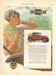 Vintage Chevrolet Car Advertisement 1928 Ladies by VintageCoolETC