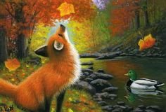 "Limited Edition ACEO print. Printed on professional, heavyweight, enhanced matte finish paper using archival inks. Signed, dated, numbered and titled. Certificate of Authenticity included. Title:""Falling Leaves for Little Fox"". 