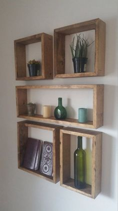 Square and Rectangular Shelf Set Square and Rectangular Shelf Set - Set of 5 shelves - In this arrangement, the entire configuration measures 25 Living Room Shelves, Living Room Decor, Shelves On Wall, Diy Wooden Shelves, Reclaimed Wood Shelves, Cube Shelves, Pallet Shelves, Floating Shelves, Home And Deco