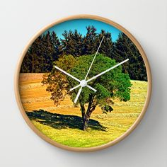 Another posing tree in summer scenery Wall Clock