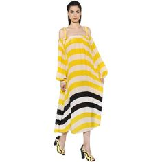 Fendi Women Off The Shoulder Striped Georgette Dress (22.630 ARS) ❤ liked on Polyvore featuring dresses, yellow, yellow off shoulder dress, yellow striped dress, striped dress, fendi and off the shoulder dress