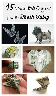Want to start a fun family tradition? This is a super fun way to leave your kids money from the tooth fairy! These are some fun tutorials for money origami that will get your kids excited. They will look forward to losing a tooth to see what design the Origami Tooth, Origami Paper, Crafts For Kids, Arts And Crafts, Paper Crafts, Homemade Gifts, Diy Gifts, Dollar Bill Origami, Dollar Bills