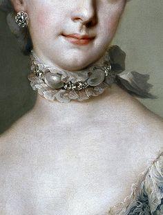 Archduchess Maria Josepha of Austria (detail)  by Anton Raphael Mengs. Oil on canvas c. 1767