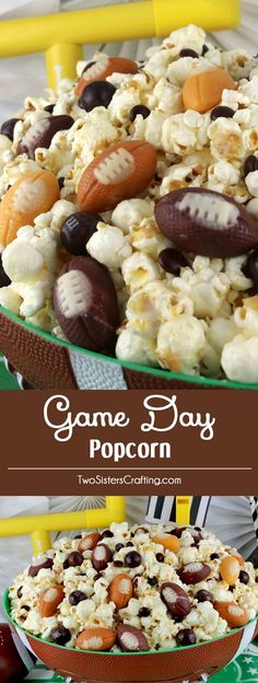 Game Day Popcorn - a fun Football treat. This Game Day Snack is sweet, salty, crunchy and delicious and chock full with delicious football candy corn and M&M's. It would be a great Super Bowl Party Food or Game Day dessert! Pin this Super Bowl Dessert for later and follow us for more fun Super Bowl Food ideas. #gamedayfood #footballfood #footballdesserts #superbowlparty #gamedaysnacks #superbowlfood #superbowlsnacks via @2SistersCraft