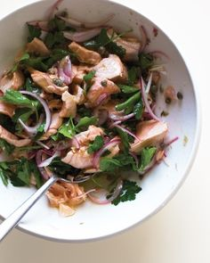 Toss poached salmon with red onion and lots of fresh parsley in a vinaigrette of capers, olive oil, and red-wine vinegar. Serve this salad with crusty bread, or combine with cooked, cooled penne for an out-of-the-ordinary pasta salad.