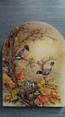 Lovely fall decor - confused by the baby birds though, as that should be spring. China Painting, Tole Painting, Painting On Wood, Clay Wall Art, Clay Art, Plaster Art, Decoupage Art, Sculpture Painting, Paperclay