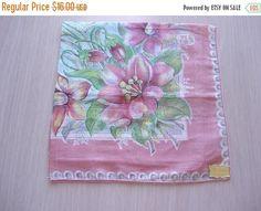 50% OFF SALE Vintage Printed Hankie  Floral  Mi Lady