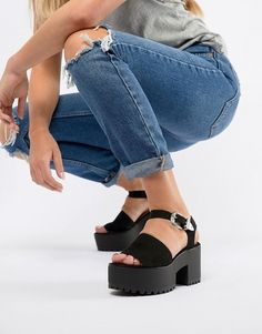 277250a2b405 Pull Bear two part western buckle chunky sandals in black