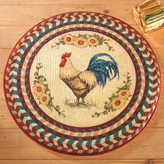 Round Rooster Rug-With Sunflowers-Multi Colored Classic printed rug is a great way to bring a little country styling into your home. Colorful rug features a