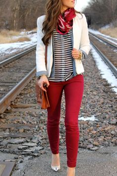 Red, white, and stripes. Love this for fall | red ankle jeans, striped black and white blouse, red scarf, white blazer
