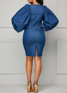 Back Slit Lantern Sleeve Blue Sheath Dress on sale only US$39.63 now, buy cheap Back Slit Lantern Sleeve Blue Sheath Dress at liligal.com