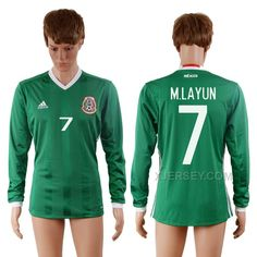 a30c02a82 ... Buy Mexico 7 M.LAYUN Home Long Sleeve Thailand Soccer Jersey from  Reliable Mexico 7 ...
