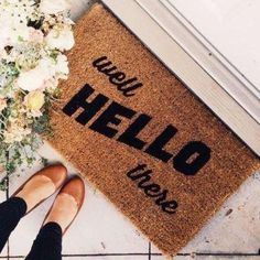 Coir Doormat - Well Hello There A great way to welcome visitors to your new home! Let's find that home! Home Living, Apartment Living, Apartment Entryway, Basement Apartment, Entryway Rug, Apartment Ideas, Inmobiliaria Ideas, Rug Ideas, Theme Ideas