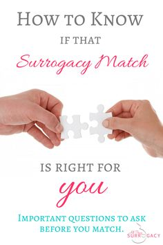 How to Know if the Surrogacy Match is Right for You! Great tips and advice.