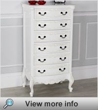 French Chateau White Painted 6 Drawer Tallboy #whitepaintedfurniture #frenchfurniture  Since it seems we can't get a matching set of drawers for our room maybe something like this would work. Totally different, fits with French look, bow front vaguely ties it all in....