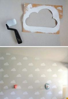 Cloud Kid's Room with Handmade Charlotte Stencils - Love love love! (DIY Cloud Kid's Room with Handmade Charlotte Stencils by Mer Mag) - Baby Bedroom, Girls Bedroom, Kid Bedrooms, Room Baby, Toy Story Bedroom, Toy Story Nursery, Kids Bedroom Paint, Cloud Bedroom, Cloud Nursery Decor