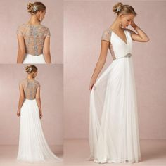 2015 Bohemian White Beach Wedding Dresses Modest V Neck Illusion Backless Beaded Bridal Fancy Gowns Cheap Short Sleeve Garden Vestidos Novia Online with $121.47/Piece on Sarahbridal's Store | DHgate.com