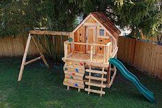 DIY Swingset ideas Kids Outdoor Play, Backyard Playground, Backyard For Kids, Backyard Playhouse, Outdoor Play Areas, Build A Playhouse, Playhouse Ideas, Backyard Playset, Backyard Swing Sets