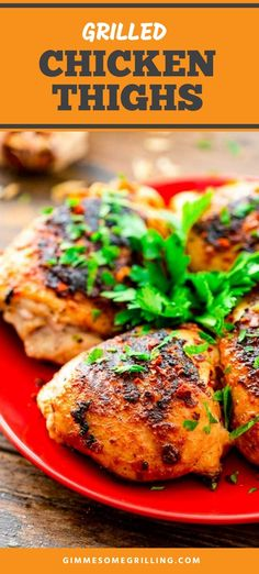 Tender, juicy grilled chicken thighs that are juicy and delicious. Season them with a simple rub and then grill them. It's an easy grilled dinner recipe that can be served in 30 minutes! #chicken #thighs