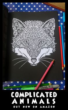 Fox - Image from Complicated Animals - A Mixed Menagerie Colouring Book - Illustrated by Antony Briggs - UK link: http://amzn.to/2aeY18T USA link: http://amzn.to/2aeXS5B