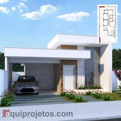 House Design Pictures, Small House Design, Modern House Design, House Layout Plans, House Layouts, One Storey House, Beautiful House Plans, Modern House Facades, Small Modern Home