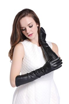 010L-US Black Nappa Leather Opera Wedding Bridal Evening Party Long Gloves L #InlnDtor #EveningGloves #Appointmentsleisureoperapartyandformal