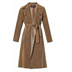 GUCCI Suede wrap-around trench coat ($1,069) ❤ liked on Polyvore featuring outerwear, coats, jackets, coats & jackets, gucci, brown, brown coat, travel trench coat, trench coat and gucci coat
