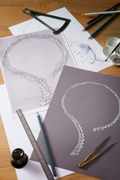 Sketches of De Beers Imaginary Nature necklace that is designed to include a removable brooch.