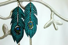 -Turquoise Peacock Feather Earrings -Faux Leather (Vegan) -Hand Painted & made in USA $28