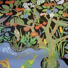 Paradiset wallpaper, Black, Josef Frank