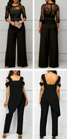 Jumpsuit black jumpsuit lace up jumpsuit elegant jumpsuit jumpsuit for work- Elegant Outfit, Classy Dress, Classy Outfits, Casual Outfits, Classy Casual, Work Casual, Formal Jumpsuit, Elegant Jumpsuit, Casual Jumpsuit
