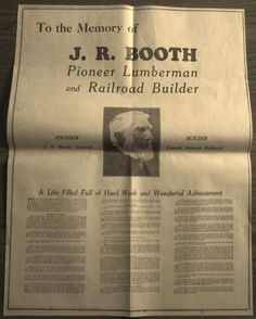 J R BOOTH DIED 2 YEARS BEFORE IN 1925,BUT SO IMPORTANT WAS HE IN OTTAWA THAT AN ENTIRE PAGE WAS DEDICATED TO HIM IN THIS DIAMOND JUBILEE ISSUE FROM 1927.  BIG 1927 OBITUARY PAGE J R BOOTH CANADA ATLANTIC RAILROAD OTTAWA LUMBER MAGNATE.