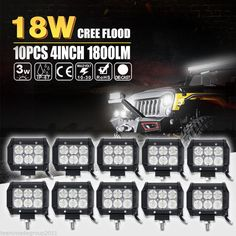 10x 18W 4 Flood Offroad Work LED Light Bar Driving DRL SUV 4WD Boat Truck Jeep