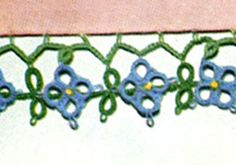 Blue Pillow Case Posies Edging & Insertion tatting pattern from Floral Insertions and Floral Edgings, Clark's O.N.T. J Coats, Book No. 263, in 1949.