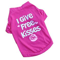 I give free kisses puppy clothes dog jacket Tshirt high quality clothing * Click image to review more details.
