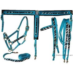 Zebra Western Tack Set - Zebra Headstall, Reins, and Breastcollar ❤ liked on Polyvore i realy lke this!