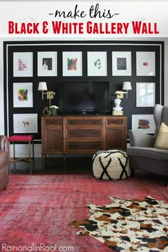 Create a focal point in your home with a stunning black and white gallery wall! All you need is paint, tape, and some art!