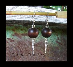 Wood Dangle Earrings by CoccoJewelry on Etsy