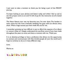 Marina 's letter at the end of the FROOT era